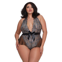 Dreamgirl One Size Queen Black Metallic Print Teddy with Flutter Mesh Hip Detailing